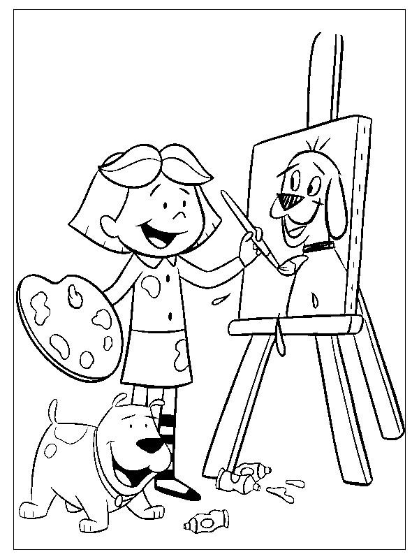 Coloriage et dessins gratuits Fille Peintre dessine un chien à imprimer