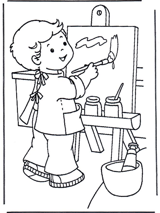 Coloriage et dessins gratuits Garçon Peintre et tableau à imprimer