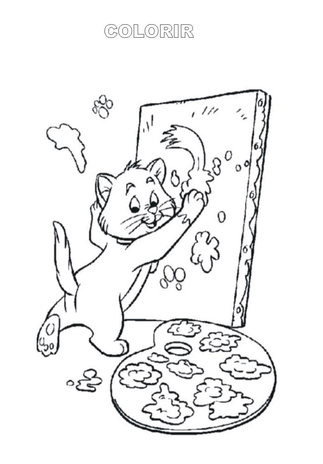 Coloriage et dessins gratuits Le  chat Peintre à imprimer