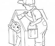 Coloriage et dessins gratuit Le Petit Garçon bricoleur à imprimer