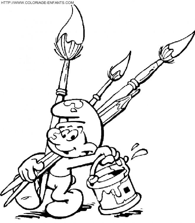 Coloriage et dessins gratuits Schtroumpf l'artiste à imprimer