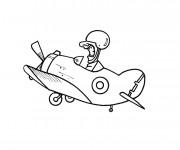 Coloriage et dessins gratuit Avion de guerre drôle à imprimer