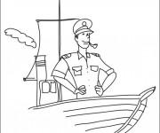 Coloriage Bateau et capitaine