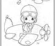 Coloriage et dessins gratuit Bébé pilote un avion à imprimer