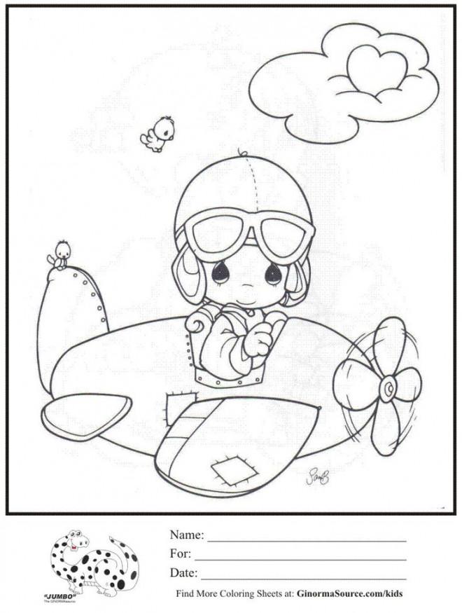 Coloriage et dessins gratuits Bébé pilote un avion à imprimer