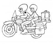Coloriage deux motocyclistes sur moto