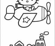 Coloriage et dessins gratuit Hello Kitty en plein vole à imprimer