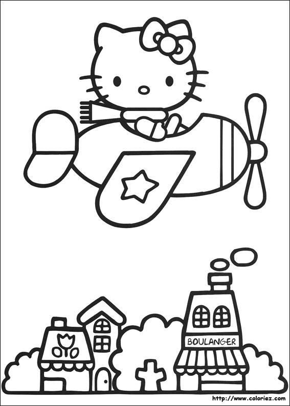 Coloriage et dessins gratuits Hello Kitty en plein vole à imprimer