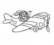 Coloriage et dessins gratuit Le lapin pilote un avion à imprimer