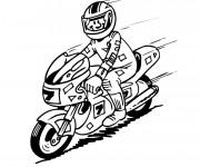 Coloriage Le pilote de moto heureux