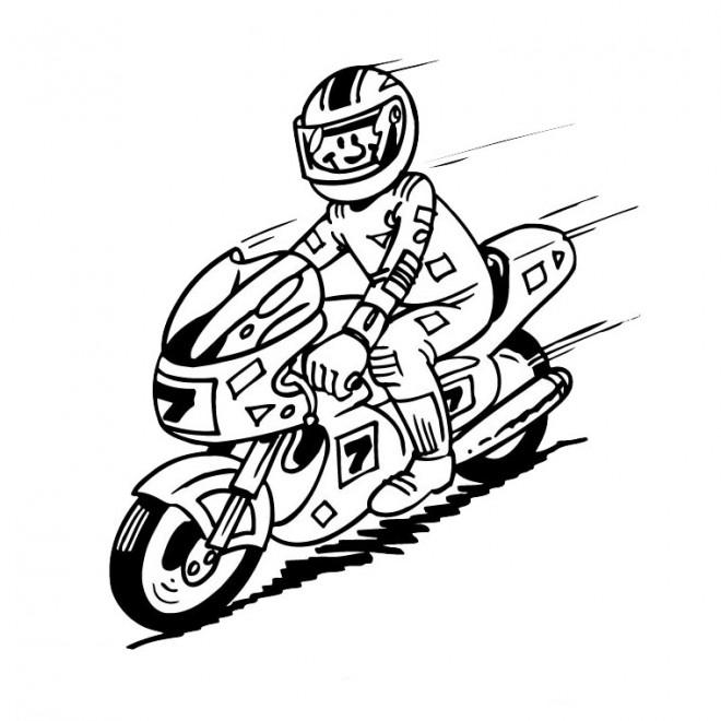 Coloriage et dessins gratuits Le pilote de moto heureux à imprimer