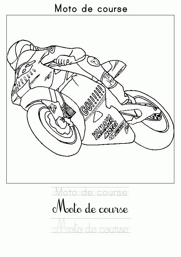 Coloriage moto de course dessin gratuit imprimer - Coloriage moto de course a imprimer ...