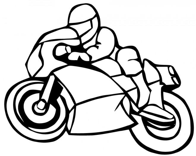 Coloriage et dessins gratuits Motocyclette de course à imprimer