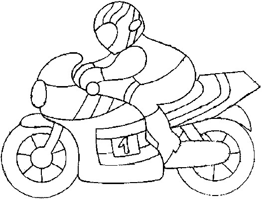 Coloriage et dessins gratuits Motocyclette et pilote à imprimer