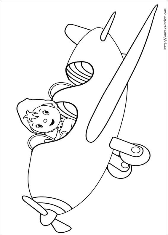 Coloriage et dessins gratuits Oui Oui en avion à imprimer