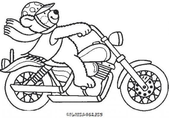 Coloriage et dessins gratuits Ours en moto à imprimer