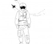 Coloriage et dessins gratuit Pilote d'avion de chasse équipé à imprimer