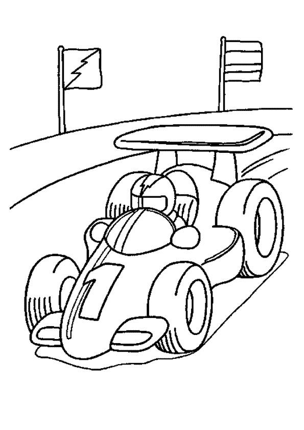 Coloriage et dessins gratuits Pilote dans sa voiture de course à imprimer