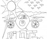 Coloriage et dessins gratuit Un avion sous les rayons du soleil à imprimer