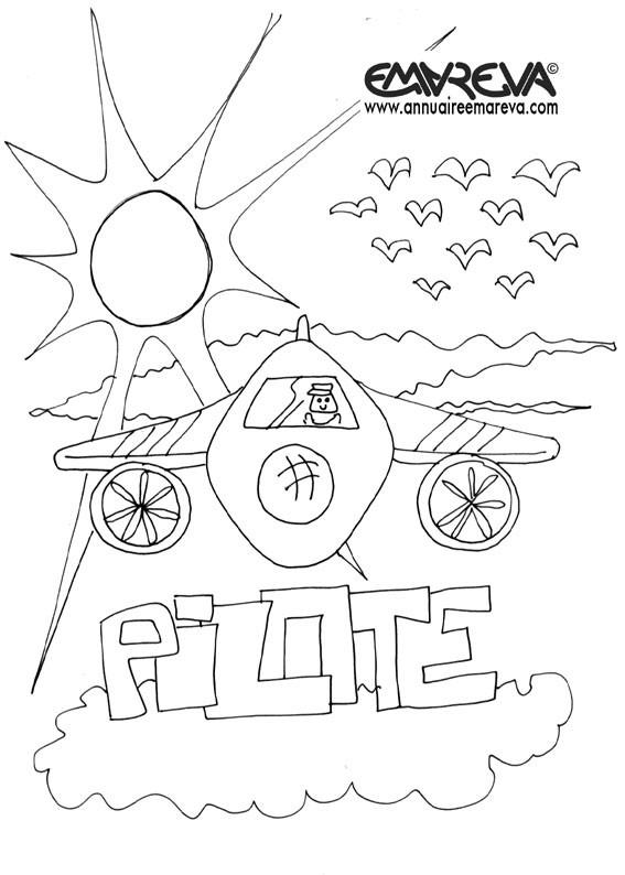 Coloriage et dessins gratuits Un avion sous les rayons du soleil à imprimer