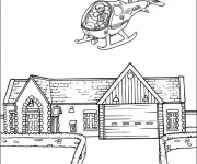 Coloriage et dessins gratuit un hélicoptère vole sur une maison à imprimer