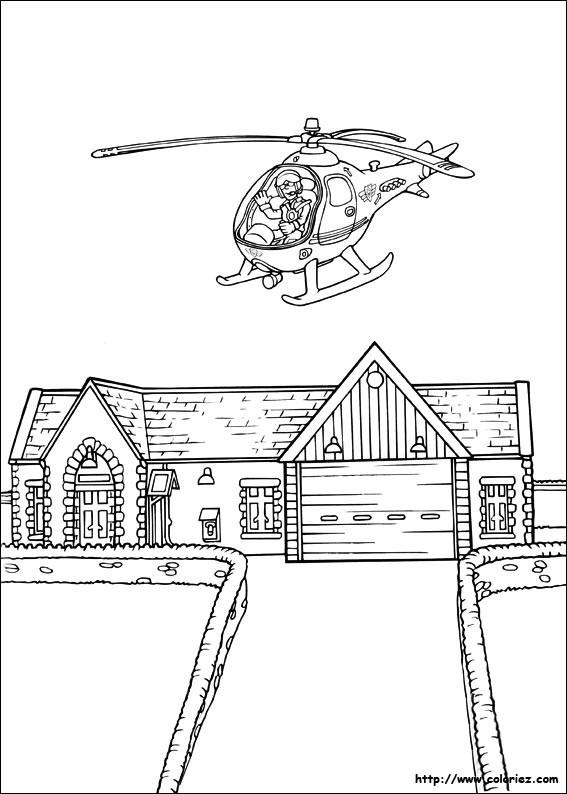 Coloriage et dessins gratuits un hélicoptère vole sur une maison à imprimer