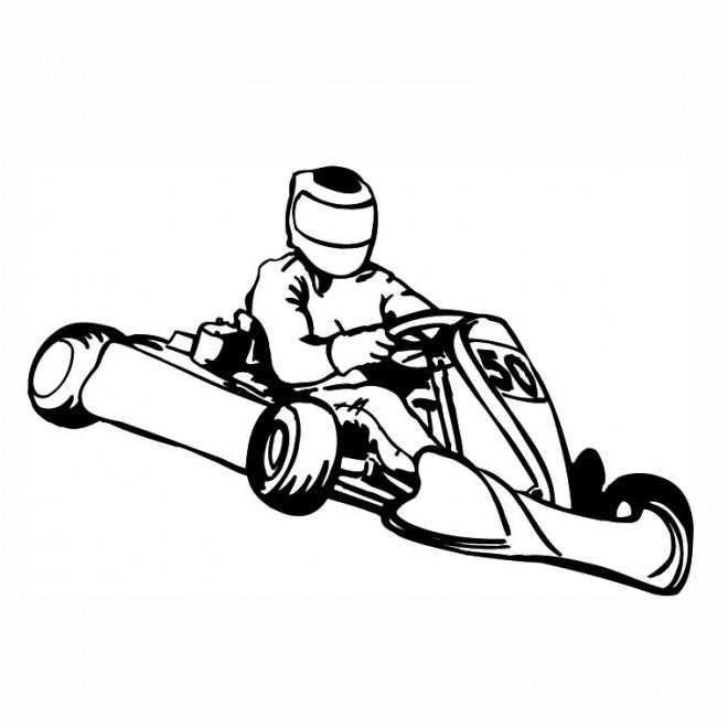 Coloriage Un Karting Avec Son Pilote Dessin Gratuit à Imprimer