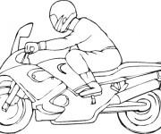 Coloriage Un motocycliste et son moto