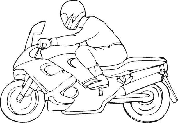 Coloriage et dessins gratuits Un motocycliste et son moto à imprimer