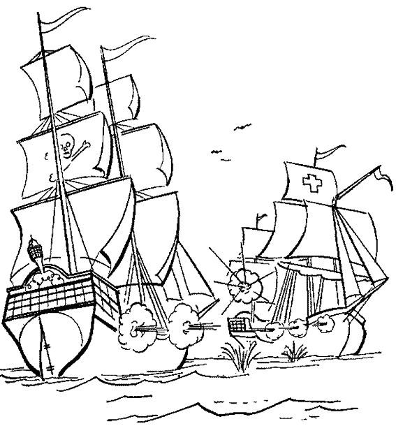 Coloriage et dessins gratuits Attaque des pirates à imprimer