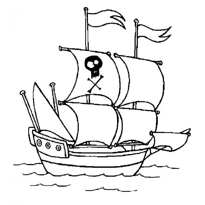 Coloriage et dessins gratuits Bateau de Pirate dessin couleur à imprimer