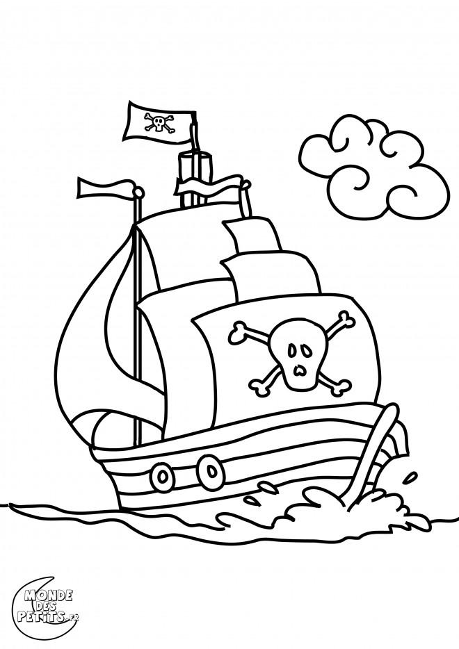 Coloriage et dessins gratuits Bateau pirate à imprimer