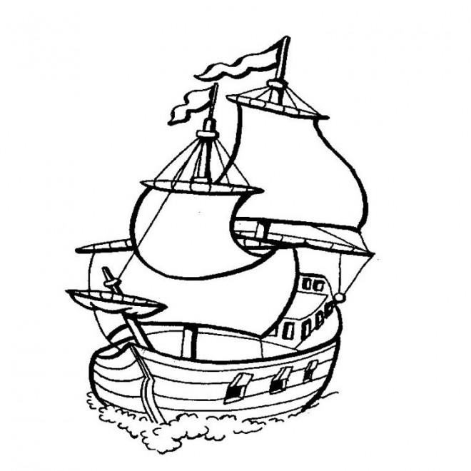 Coloriage et dessins gratuits Bateau Pirates couleur à imprimer