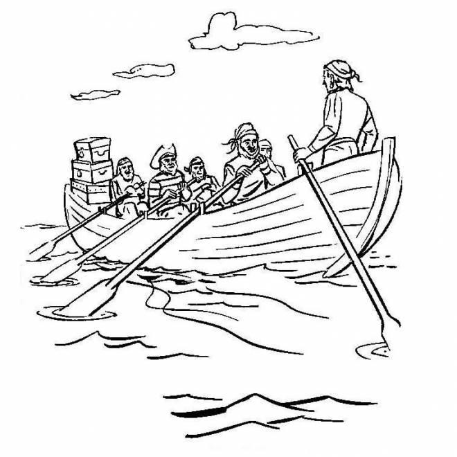 Coloriage et dessins gratuits Canot et Pirates maternelle à imprimer