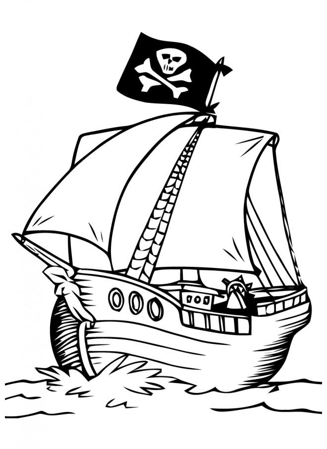 Coloriage et dessins gratuits Dessin de bateau de pirate à imprimer