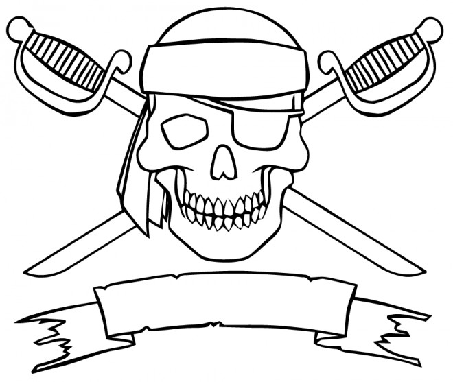 Coloriage et dessins gratuits Drapeau des pirates à imprimer