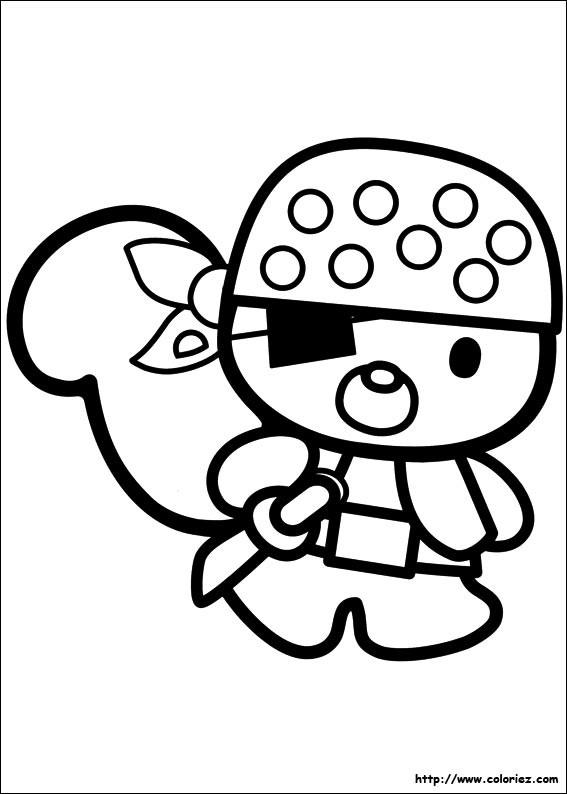 Coloriage et dessins gratuits Hello Kitty Pirate à imprimer