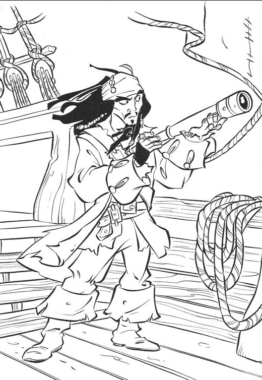 Coloriage jack le pirate et son binoculaire dessin gratuit - Coloriage jack le pirate ...