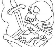 Coloriage et dessins gratuit La carte du trésor à imprimer