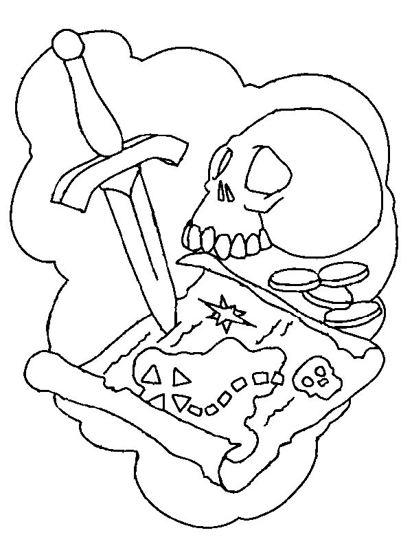 Coloriage et dessins gratuits La carte du trésor à imprimer