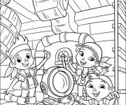 Coloriage et dessins gratuit Les enfants sur bateau des pirates à imprimer