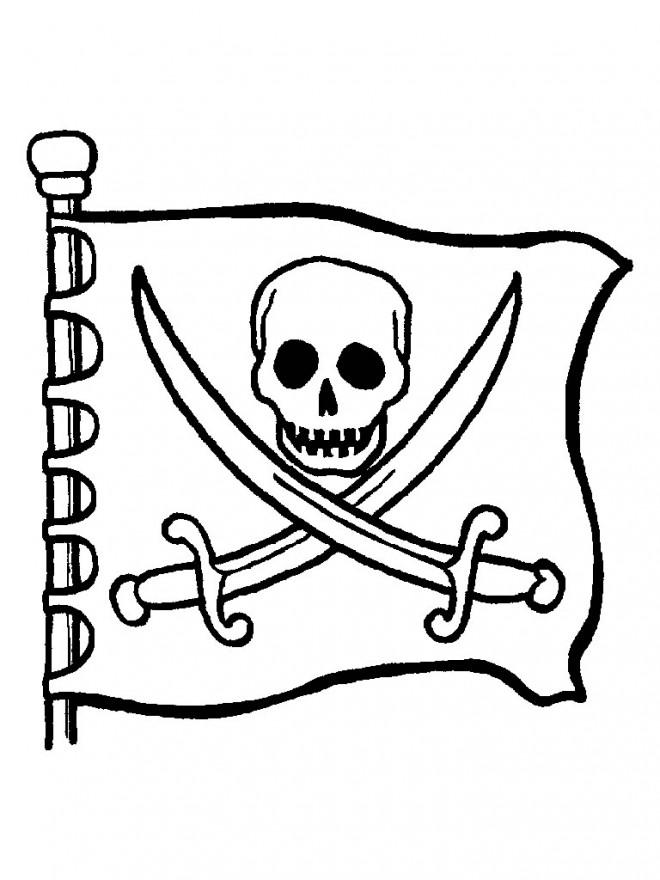 Coloriage et dessins gratuits Pavillon pirates à imprimer