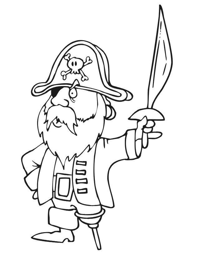 Coloriage et dessins gratuits Pirate et épée à imprimer
