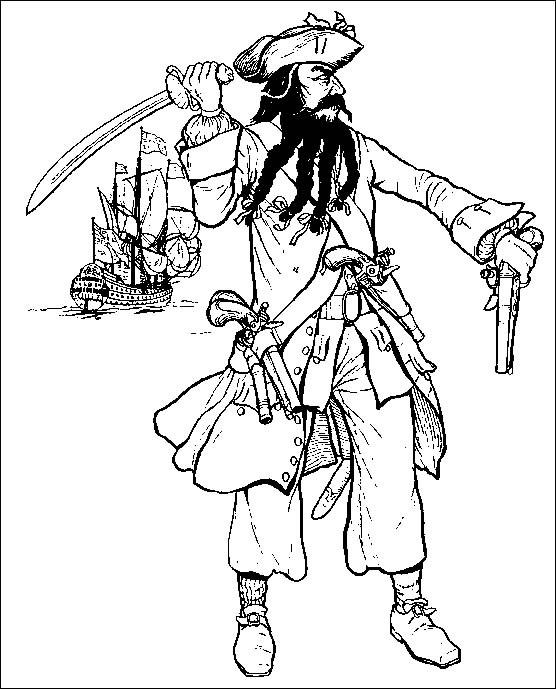 Coloriage et dessins gratuits Pirate et ses armes à imprimer