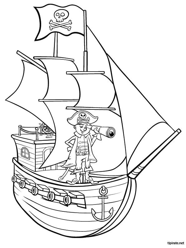 Coloriage pirate et son binoculaire dessin gratuit imprimer - Dessin petit bateau ...