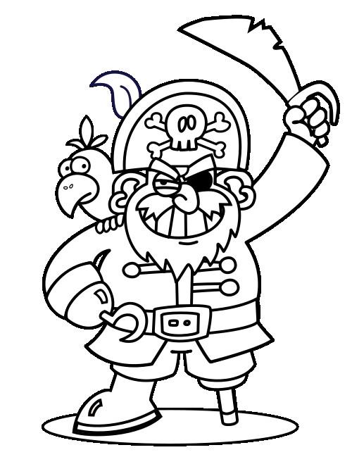 Coloriage et dessins gratuits Pirate et son perroquet à imprimer