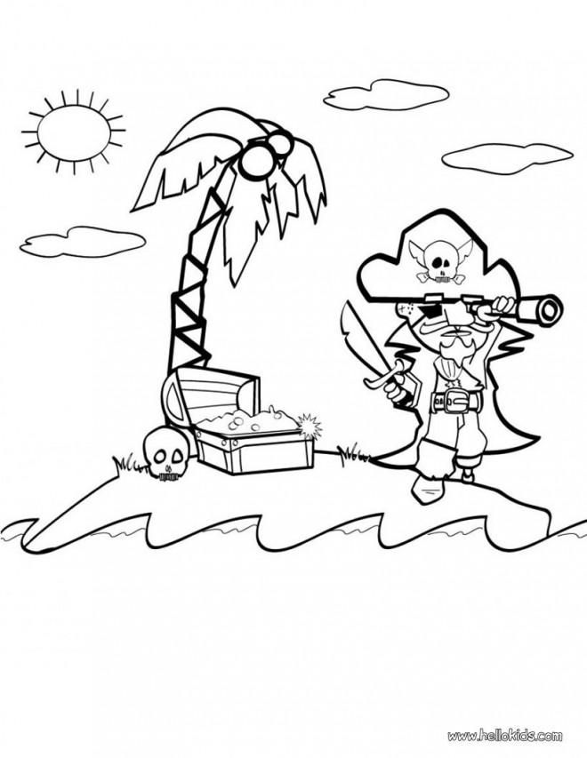 Coloriage et dessins gratuits Pirate et trésor sur l'île à imprimer