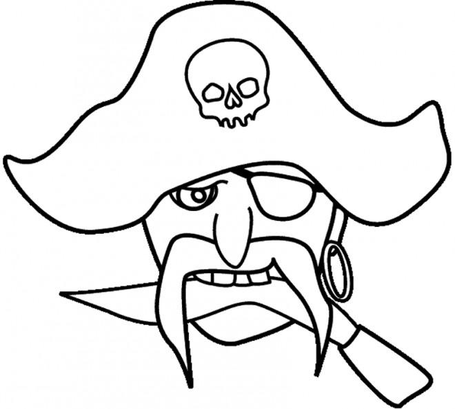 Coloriage et dessins gratuits Pirate tête à imprimer