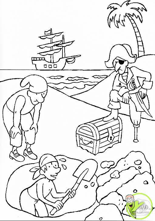 Coloriage et dessins gratuits Pirates ont déjà trouvé leur trésor à imprimer