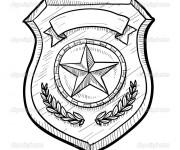 Coloriage et dessins gratuit badge de police américain à imprimer